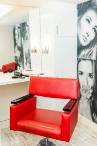 Red Salon chair in a Beauty Salon.