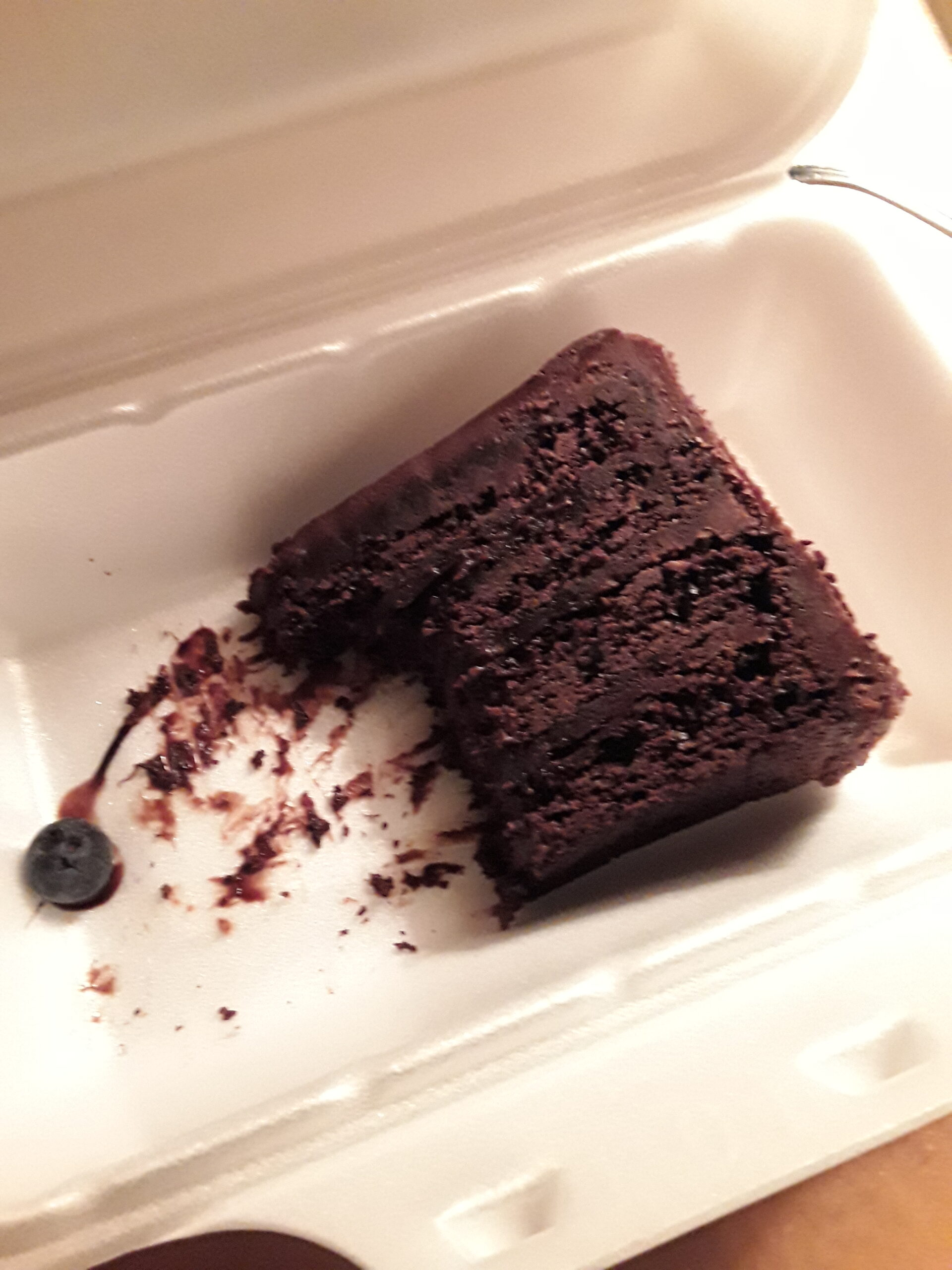 Slice of chocolate fudge cake in styrofoam container